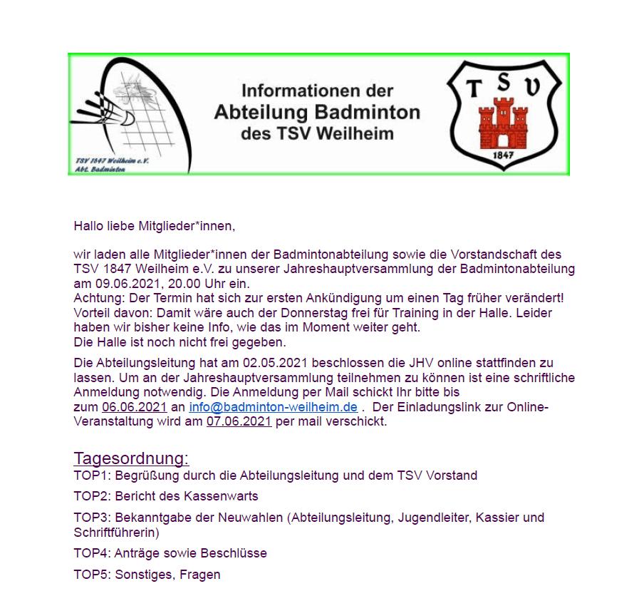 Einladung MV 9.06.2021