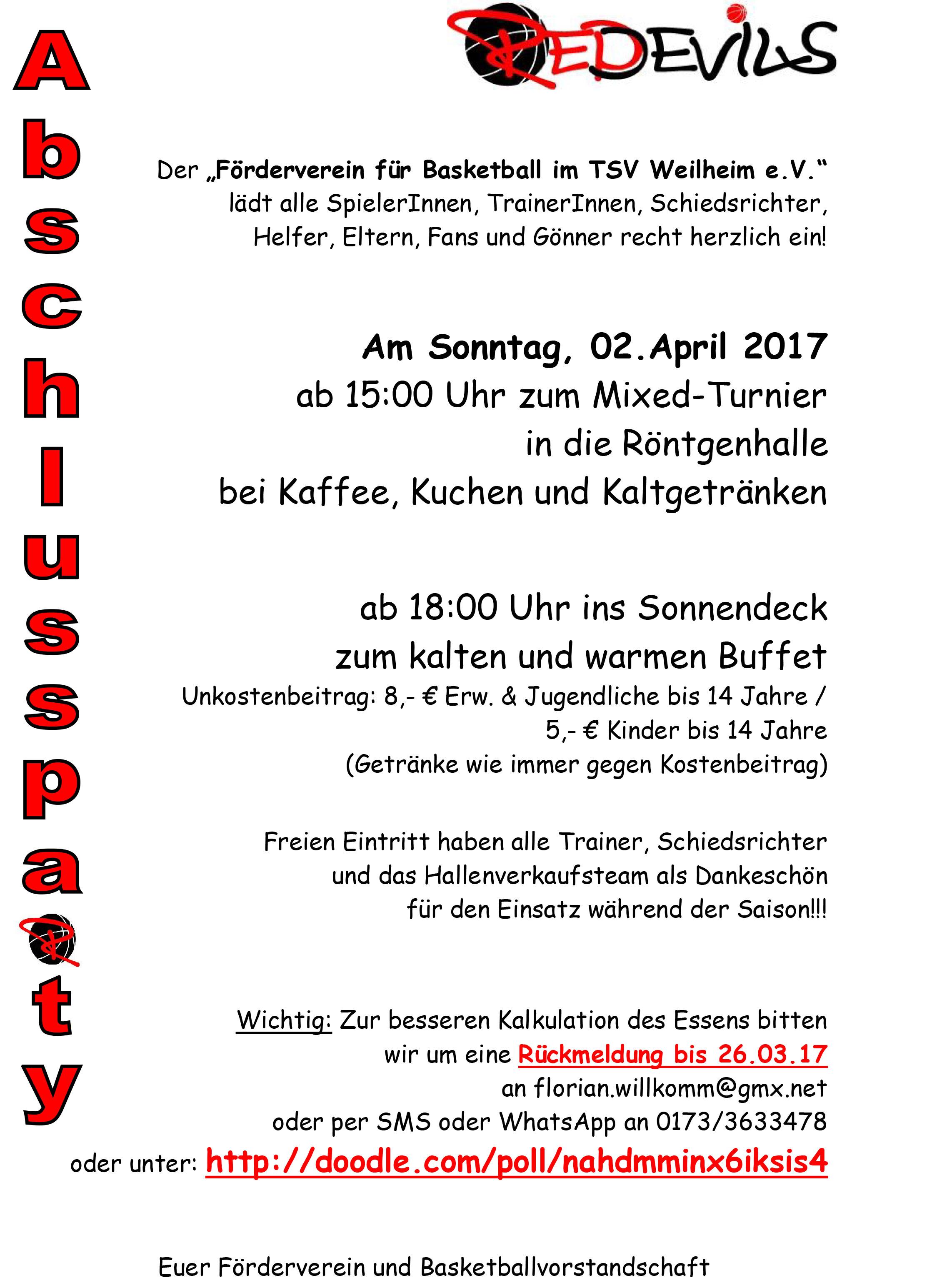 Abschlussparty – TSV 1847 Weilheim e.V.