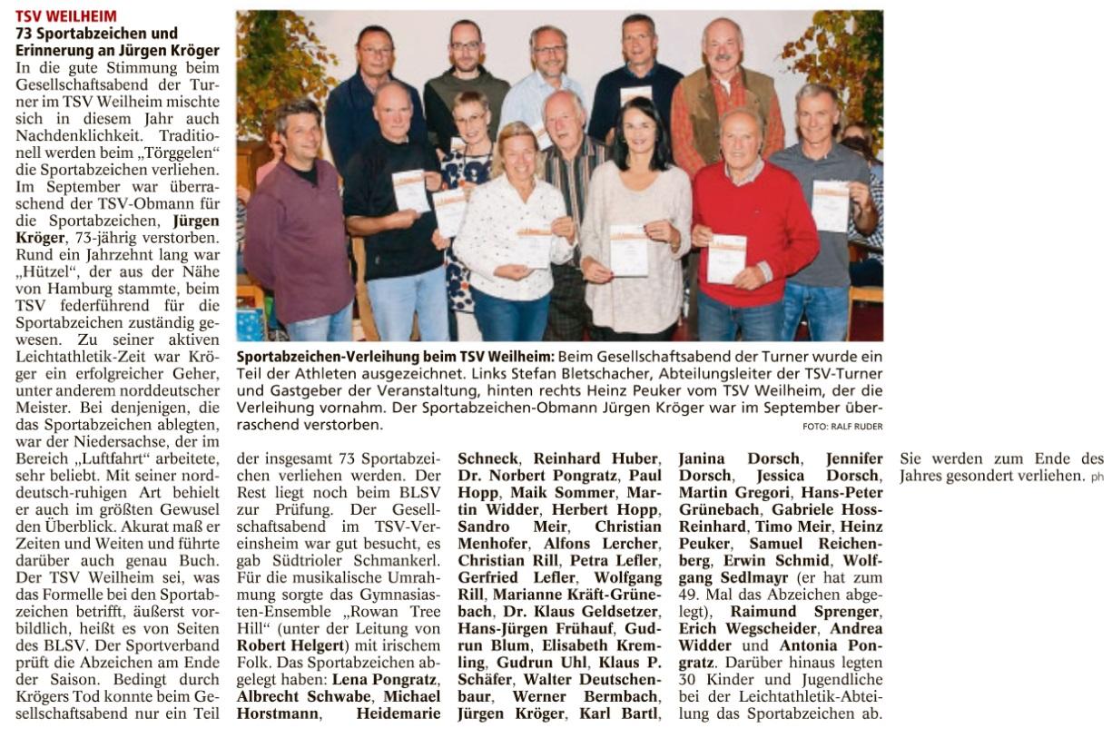2017-11-08 Sportabzeichen WeilheimerTagblatt