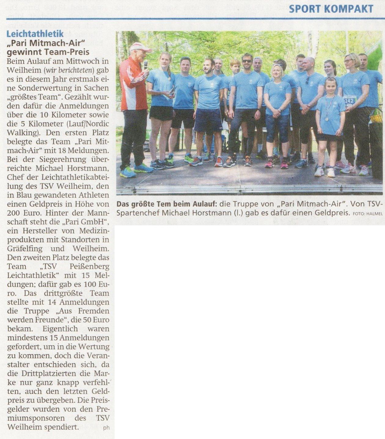 Weilheimer Tagblatt vom 3.5..2019