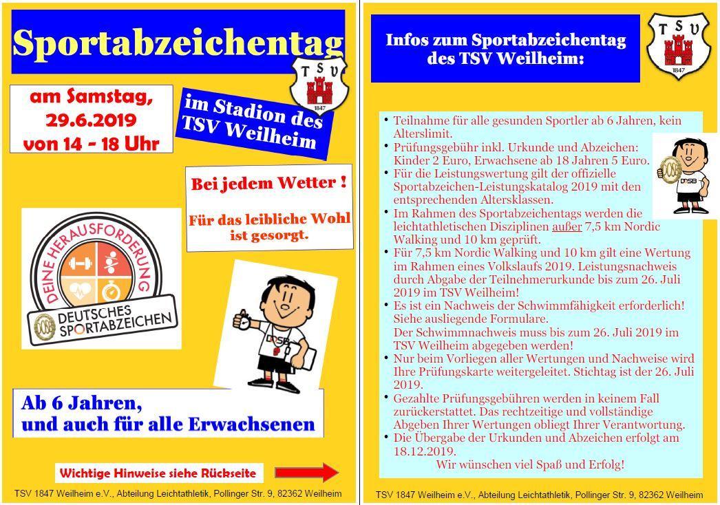 Handzettel Sportabzeichenfest 2019