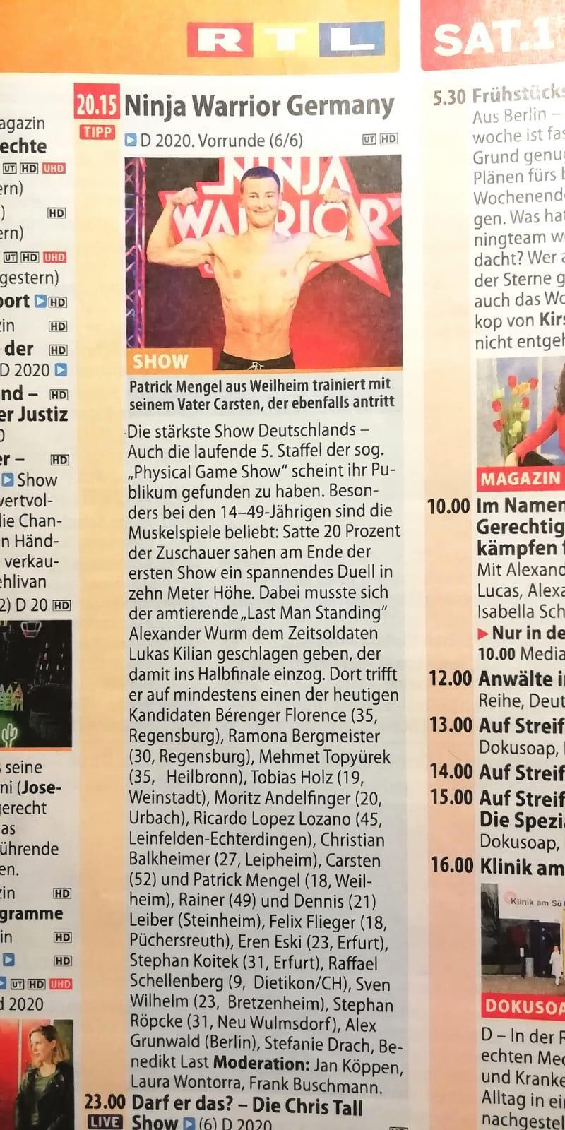 Ninja WarriorPatrick Mengel TV-Zeitschrift