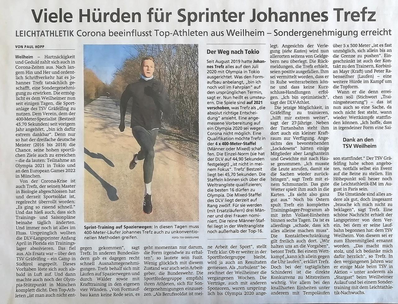 Viele Hürden für Sprinter Johannes Trefz