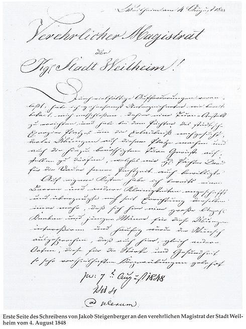 Erste Seite des Schreibens