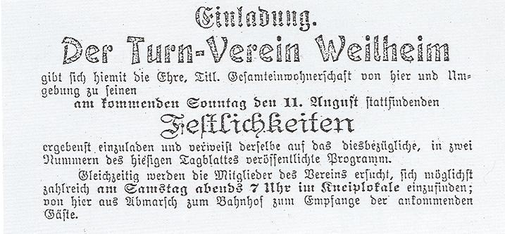 Turn-Verein Einladung
