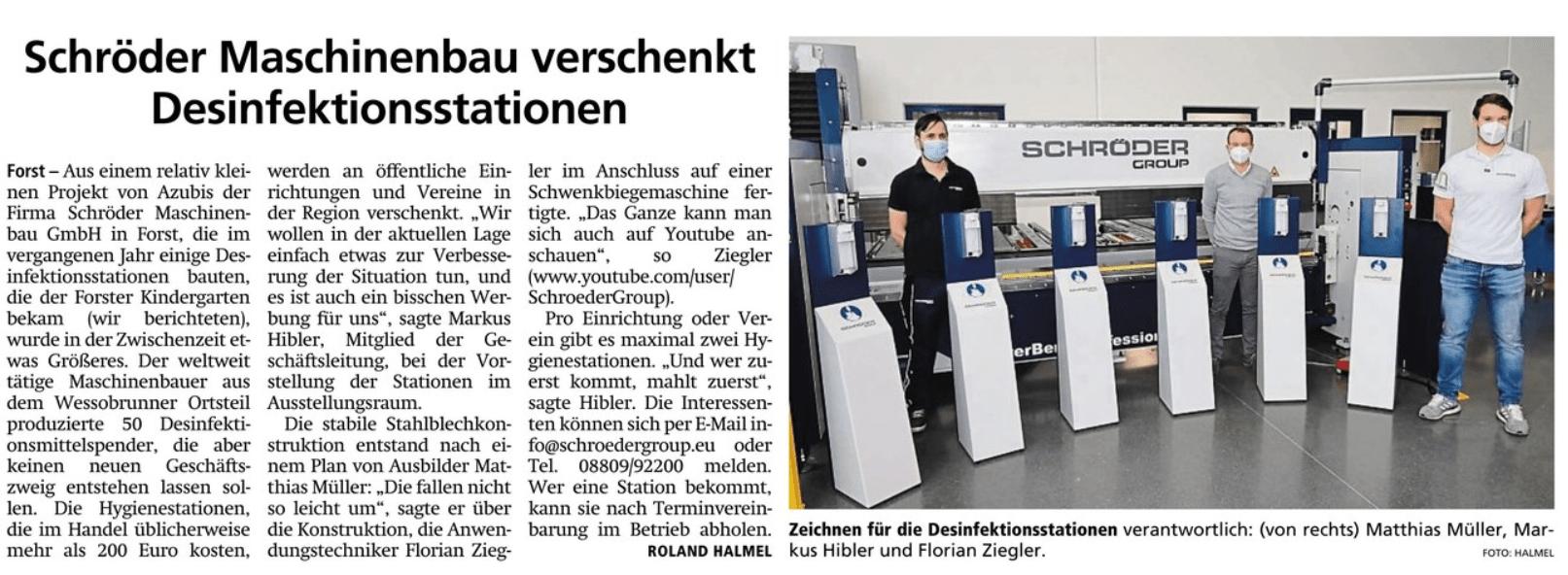 2020-02-05 Tagblatt Artikel Scröder Desinfektionsstationen